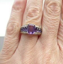 A Smart 9ct Gold Amethyst and Diamond Dress Ring