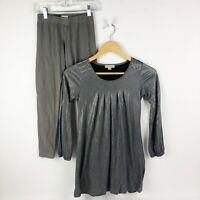 Burberry Girls Size 10 Dress Leggings Gray Silver Long Sleeve Plaid Check Trim
