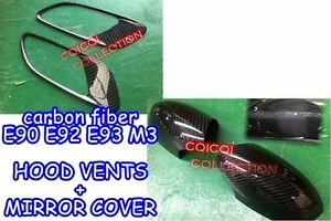 Carbon Fiber for BMW 08~12 E90-M3 E92-M3 E93-M3 mirror cover + hood vents cover◎