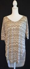 Old Navy Brown & White Chevron Striped High-Low  Shirt Women's Size XLARGE