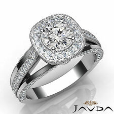 Round Diamond Halo Pre-Set Engagement Milgrain Ring GIA E VVS1 Platinum 1.40Ct