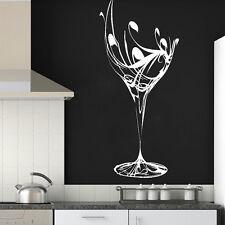Elegante Copa De Vino Adhesivo Pared/Arte Diseño/Cocina Pegatina Estarcido M1