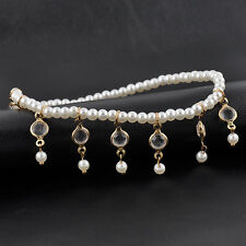 1pc Womens Ladies Trendy Pearls Crystal Rhinestone Ankle Anklet Bracelet Bangle