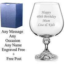 Personalised Engraved Brandy Glass mothers day gifts mom gift mum gift nan gift