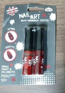 Red & Sparkle. Glitter Nail polish varnish,  fine nib nail art pens, new fun