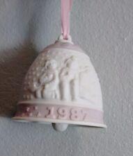 Vintage llardo collectible Christmas bell 1987 ornaments pink white porcelin