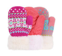3 Pairs Set Kids' Toddler Sherpa Lined Winter Knit Mittens Thick Warm Gloves