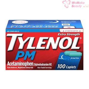 Tylenol PM Extra Strength Pain Reliever Nighttime Sleep Aid 100 Caplets New