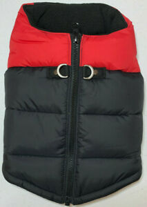 Gooby Padded Cold Weather Vest for Small Dogs, Black & Red- FAST FREE SHIPPING