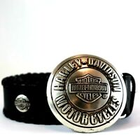 Harley Davidson Motorcycle Black Leather Belt with Metal Buckle Collectable Vint