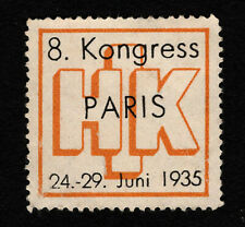 Opc 1935 8th Congress Paris France Poster Stamp Mng