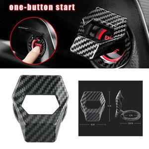 1Pc Carbon Fiber Engine Start Stop Push Button Switch Cover Trim Car Accessories