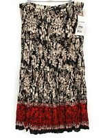 Junonia Womens Floral Maxi Skirt Black Red Plus Size 2X Crinkle Beaded Sequins