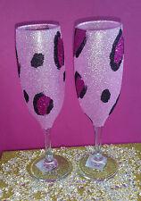 2 Vasos De Brillo Rosa Leopardo Flauta De Vino Boda Cumpleaños Regalo De Navidad Novia