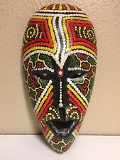 Huichol Mexican Folk Art Carved Wood Painted MASK Colorful Wall Art Decor