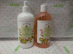 Crabtree & Evelyn Sweet Almond Oil  Body Lotion & Shower Gel SET 16.9 Fl OZ