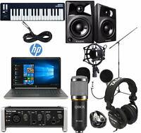 Home Recording Bundle HP Laptop Tascam M-Audio Studio Package Pro Tools N. O. B.