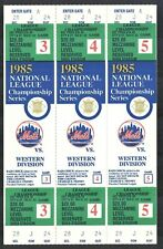 1985 NEW YORK METS SHEA STADIUM NLCS PHANTOM TICKETS {Full Block of 3} Mezzanine
