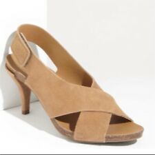 PEDRO GARCIA Maggie Suede Leather Heels Shoes Sandals Size US 8.5 Tan Brown