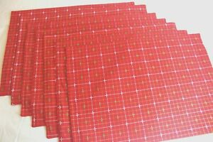 "RED PLAID Large PLACEMATS 14""X20"" Set of 7 COTTON Green White Gold Metallic"