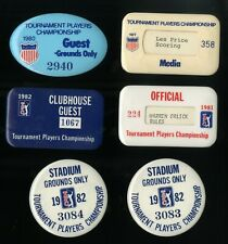 1977, 80, 81, 82 THE PLAYERS CHAMPIONSHIP GOLF BADGE COLLECTION - 6 Pieces