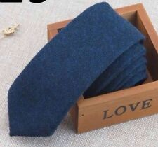 Navy Blue Mens Tweed / Wool Skinny Tie. Excellent Quality & Reviews. UK.