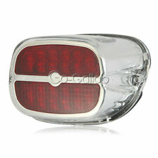 Motorcycle Chrome Red LED Tail Brake Light for Harley Touring Street Road Glide