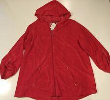 NWT Quacker Factory Sz 1X Pink Terry Cloth Full Zip Up Hoodie Jacket Coat 1XL