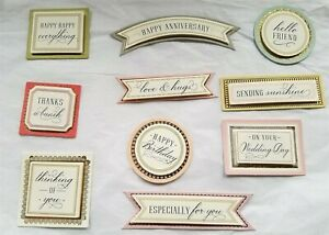 Anna Griffin Watercolor Decoupage Sentiments Birthday Wedding 10 pc