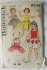 VINTAGE EARLY 1960'S BUTTERICK PATTERN 9349 GIRLS DRESSES SIZE 2 CHEST 21""