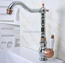Chrome Antique Red Copper Bath Kitchen Sink Swivel Spout Faucet Mixer Tap ynf910