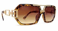 TORTOISE BROWN GOLD GAZELLE CHAIN SUNGLASSES SQUARE OVERSIZED RETRO HIP HOP VTG