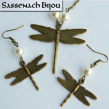 Dragonfly & Pearls - Earrings and Necklace Bronze Set - Outlander inspired