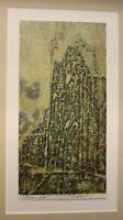 """Mischtechnik von Wolfgang Beier """"Kirchen Ruine"""" 1980 Malerei Kunst Zeichnung sf"""