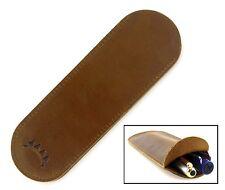 Soft Leather Pen Case/Sleeve/Slip, Wide, for 2 Pens or 1 Large Pen, Brown