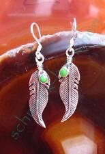 Ohrring Türkis Kupfertürkis grün Feder hl Stein der Indianer Sterling Silber 925