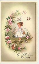 VINTAGE GIRL PONYTAIL WHITE DRESS SQUIRREL FLOWER GARDEN BIRDS CARD ART PRINT