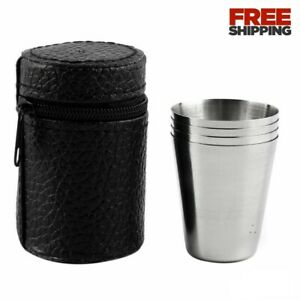 4Pcs Stainless Steel Camping Foldable Cup Universal Travel Coffe Tea Outdoor Mug