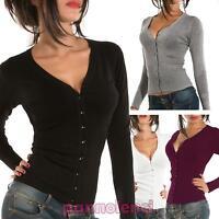 Cardigan donna maglioncino pullover maglia maniche lunghe nuovo 6954-MOD