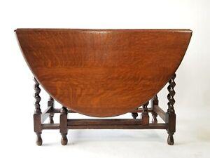 Early 20th C. English Oak Drop-Leaf Dining Table With Barley Twist Gate-Legs