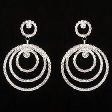LARGE Hoop Earrings Silver Diamante Crystal Rhinestone Dangle Drop Wedding Party