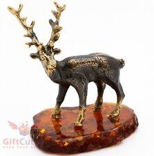 Solid Brass Amber Figurine of the Deer Elk Moose IronWork