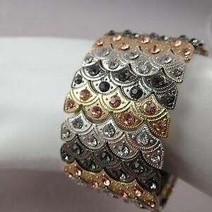 "Sparkling Wide Stretch Multi Tone Clear Gold Black Rhinestone 6 1/2"" Bracelet"