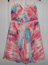 Love Reign Jrs Sz 13 Strapless Jeweled Waist Mini Floral Chiffon Party Dress NWT