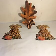 Vtg Autumn Fall Thanksgiving Diecut Pumpkin Corn Shock Oak Leaf Acorn Dennison