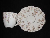 Porcelain Demitasse Cup & Saucer Set - Floral w/ Gold Trim