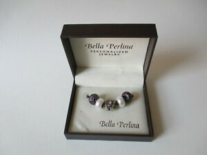 BELLA PERLINA Silver Butterfly Pearl Purple Beads Charms w/ Box