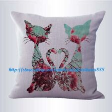 US SELLER-shabby chic retro love cats couple cushion cover decorative pillows
