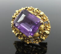 Art Nouveau 15.0ct Amethyst Hand Made 14K Rose & Yellow Gold Floral Pin Brooch