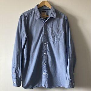 Fat Face shirt size Large blue cotton long sleeve button mens